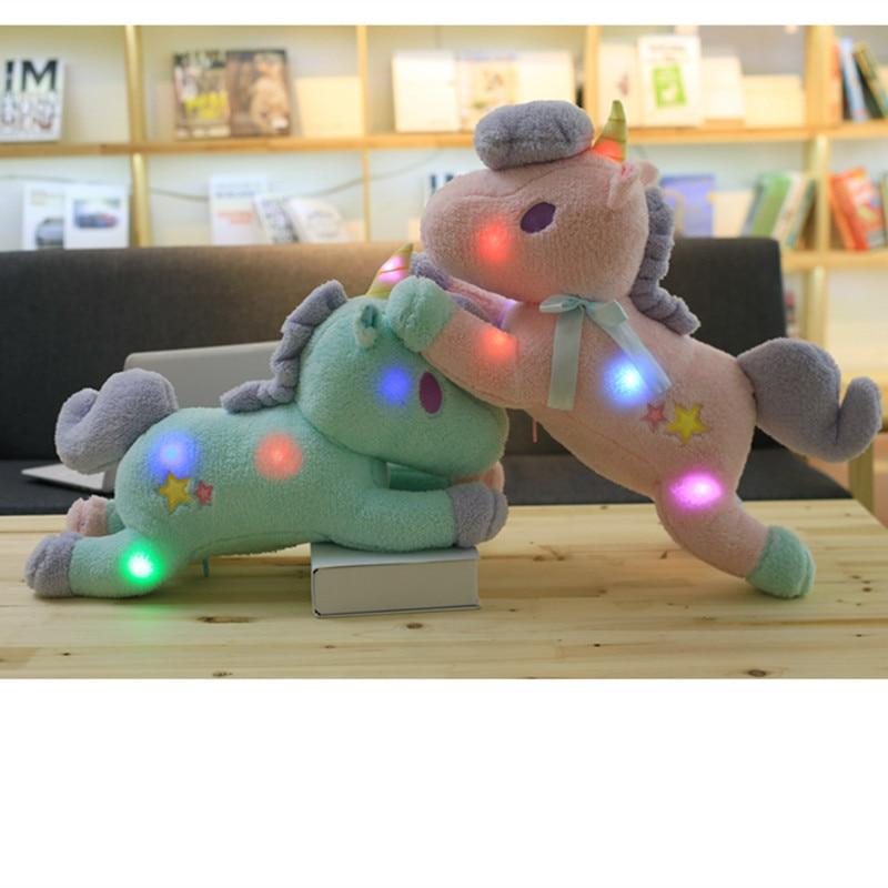 1pc 55cm Kawaii Light Colorful Unicorn Plush Toy Soft Staffed Luminous Pillow Home Furnishing Decor Valentines Gift for girlkid