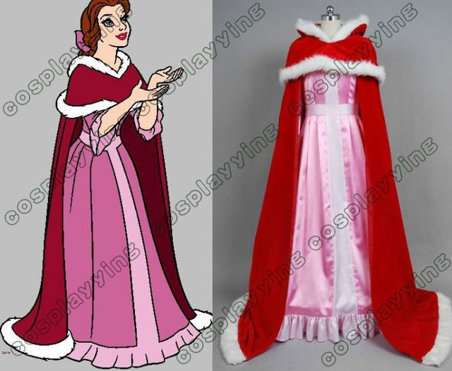New Arrival Beauty And The Beast Belle Cosplay Costume Pink Dress
