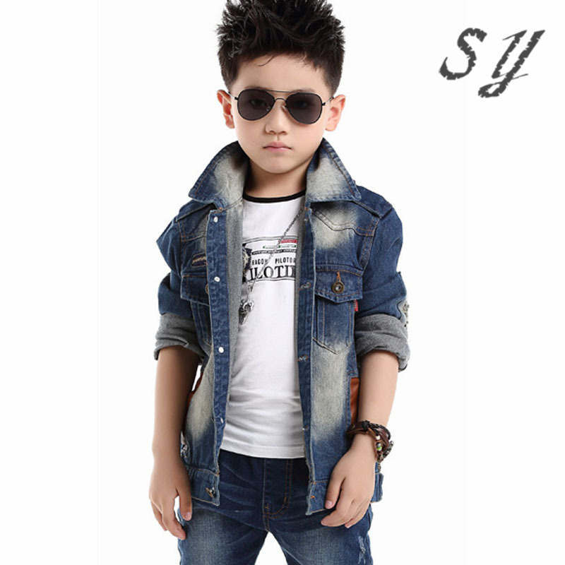 041a6acac41c brand denim jaket children spring autumn kid boy jeans jacket cowboy style  long sleeve turn down collar denim boy winter outfit-in Jackets & Coats  from ...