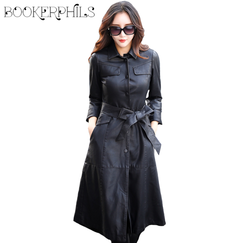 2019 X-Long Women's Spring Jacket Single Breasted Autumn Faux   Leather   Coat Female Black Winter Overcoat With Belt Plus Size 5XL