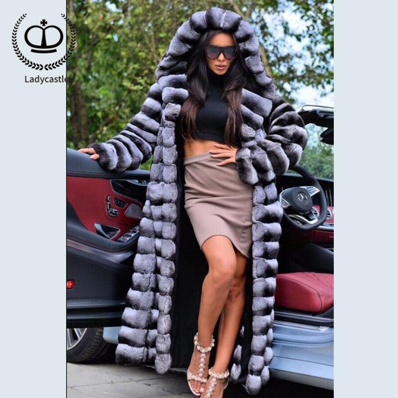 2018New Reale Chinchilla Rex Del Coniglio Cappotto di Pelliccia Con Il Grande Cappuccio X-Lungo Giacca Invernale Con Pelliccia Reale Delle Donne Imbottiture cappotto Da Naturale RB-060