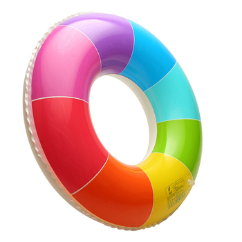 New Rainbow Inflatable Swimming Ring Swim Float Summer Beach Water Fun Pool Toys For Adults Children Kids 5