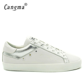 CANGMA  Leather Men's Shoes White Sneakers For Men Genuine Leather Mixed Colors Big Sizes Footwear Man Platform Trainers