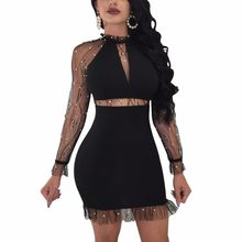 Black White Sheer Sleeve Bodycon Dress Hot Sexy Women Night Club Wear  Insert Mesh Pearls Details Package Hips Mini Dresses 2XL 9c4c826d58de