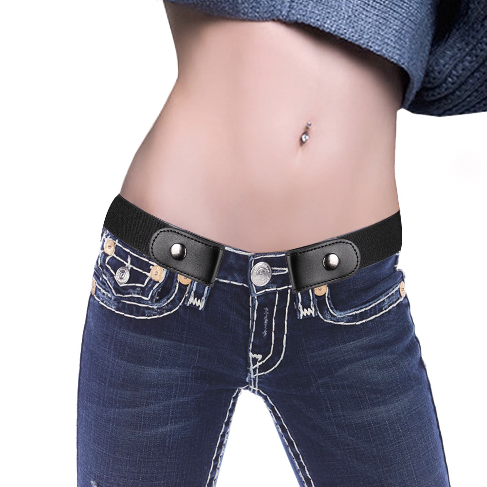 Fashion Black White Without Buckle Free Elastic   Belt   For Women Female Stretch Jeans Pants Dresses   Belts   Male