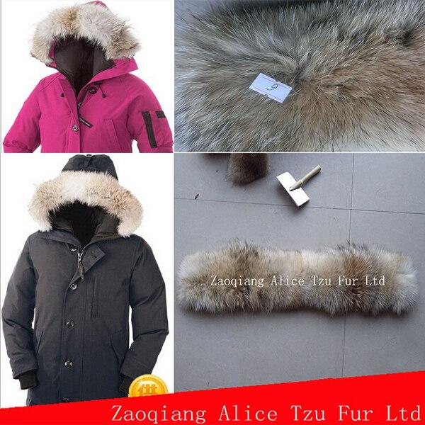 65*15 cm nouvelle mode femmes coyote bande de fourrure/vraie garniture de fourrure pour col de capuche - 2