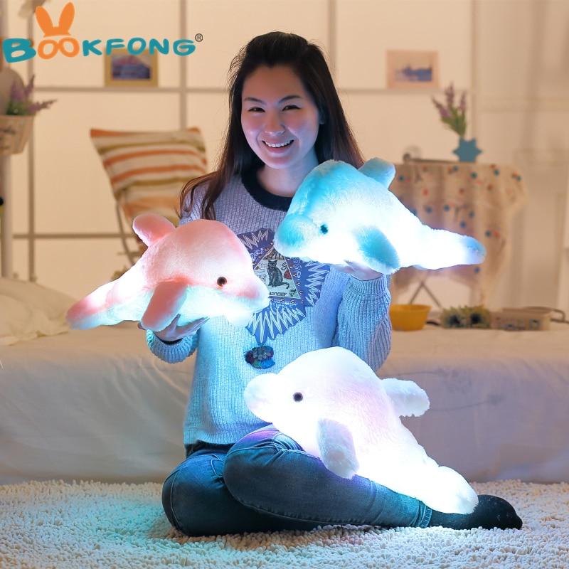 BOOKFONG 45 cm Bunte Led-Licht Kissen Kissen Nette Dolphin Gefüllte Plüsch Puppe Spielzeug Mädchen Geburtstag Geschenk