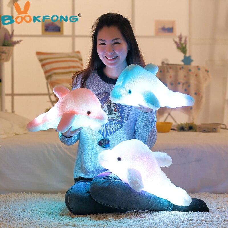 BOOKFONG 45 cm Bunten Led-Licht Kissen Kissen Netter Dolphin Plüsch Puppe Spielzeug Mädchen Geburtstagsgeschenk