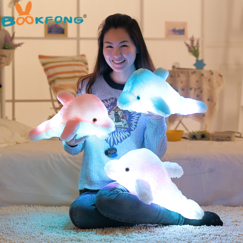BOOKFONG 45cm Colorful Led Light Pillow Cushion Cute Dolphin Stuffed Plush Doll Toy Girl Birthday Gift stuffed animal 44 cm plush standing cow toy simulation dairy cattle doll great gift w501
