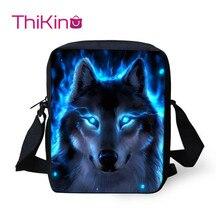 Thikin Moonlight Wolf Shoulder Messenger Bag Crossbody Phone for Boys Shopping Bags Mochila Infantil
