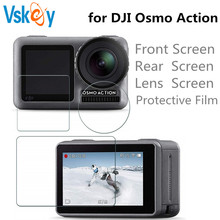VSKEY 150PCS Tempered Glass for Dji Osmo Action Sport Camera Screen Protector Scratch-resistant Front Rear Lens Protective Film puluz hd tempered glass lens protector screen film for dji osmo pocket gimbal