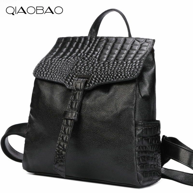QIAOBAO 100% Natural Leather Crocodile Pattern Backpack Korean Fashion Cowhide Leather bag simple shoulder bag qiaobao 100