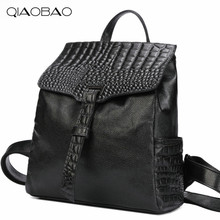 QIAOBAO 100% Натуральной Кожи Крокодила Шаблон Рюкзак Корейской Моды Натуральной Кожи сумка простой мешок плеча