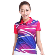 2016 New Woman Quick Dry Badminton T-Shirt Polo Stand Neck Pingpang Uniform Tennis Short Sleeves Top