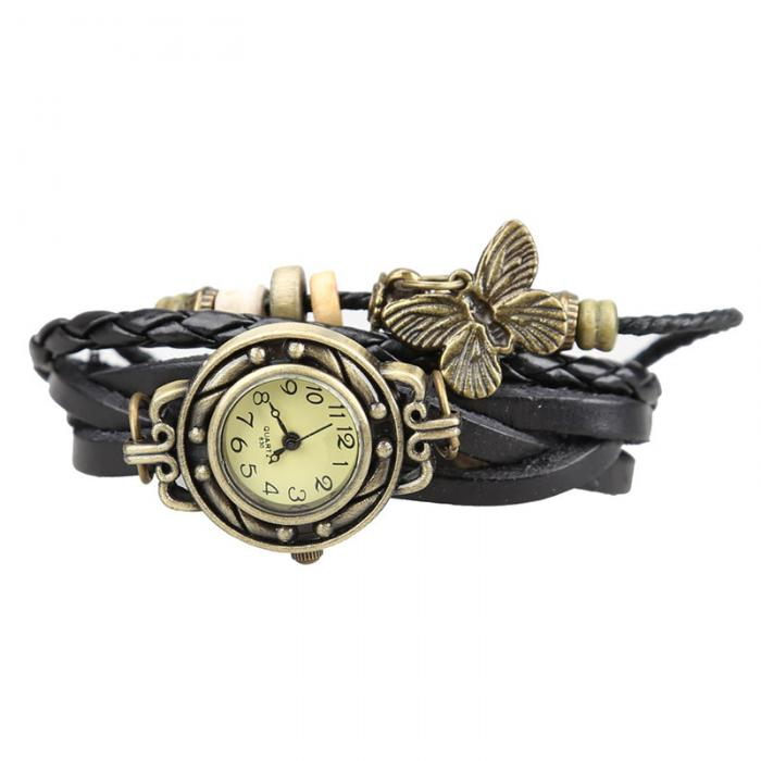 Unique Butterfly Vintage jewelry Watch Women Lady Vintage Retro Rivet Braided Bracelet Leather Strap Dress Watch Sister Gift LL