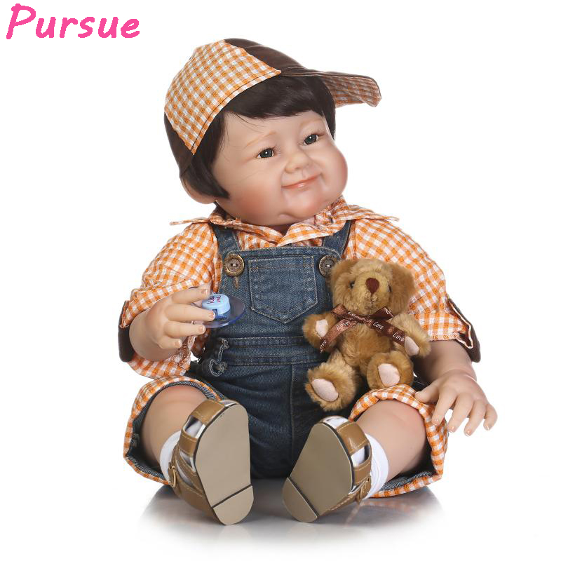 Pursue 22/56 cm Big Smile Face Reborn Boy Toddler Baby Doll Cotton Body Vinyl Silicone Baby Boy Doll for Children Birthday Gift pursue 22 57 cm bathe boy doll reborn full silicone vinyl body reborn babies dolls toys for children boy girl christmas gift