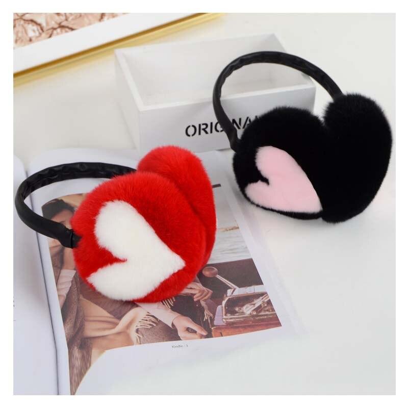 Ms.MinShu Real Fur Earflap Girl' Earmuffs Woman Rabbit Fur Earmuff  Christmas Gift Cute Ear Warmer Winter Warm Earmuffs Unisex