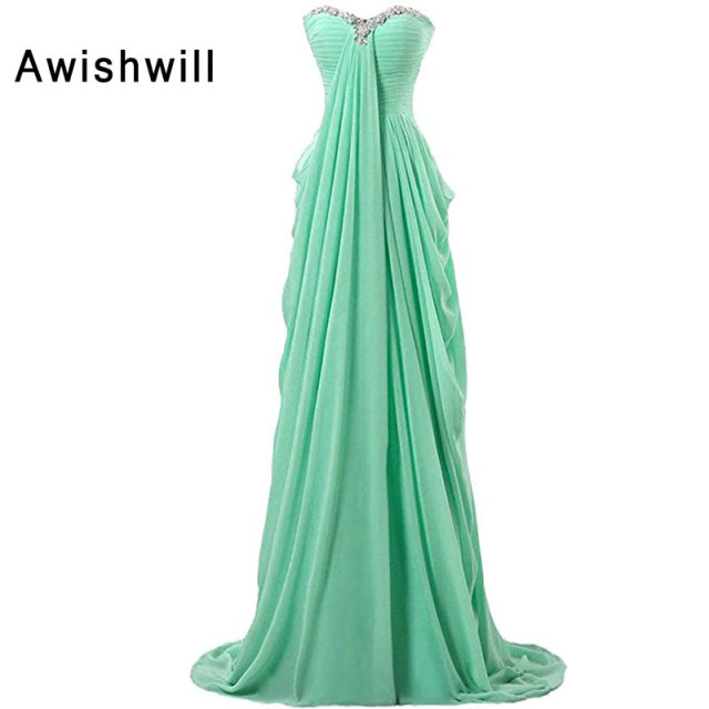 New Sparkling Beads Chiffon Long Prom Dress Sleeveless Empire Waist ...