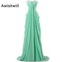 New Sparkling Beads Chiffon Long Prom Dress Sleeveless Empire Waist Pregnant Women Party Dresses Robe De