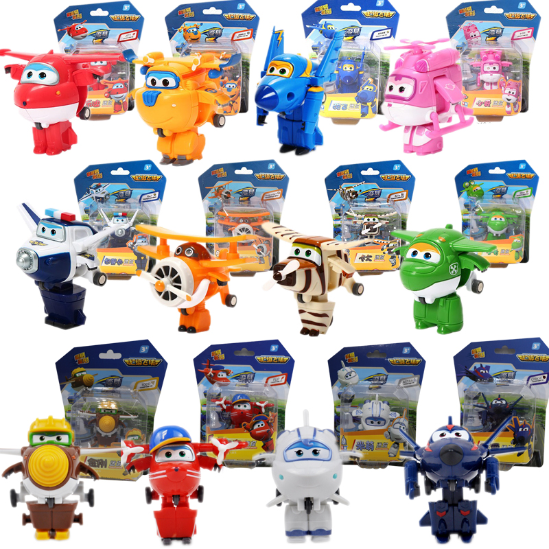 12pcs/set Super Wings Mini Airplane ABS Robot toys Action Figures Super Wing Transformation Jet Animation Children Kids Gift plan
