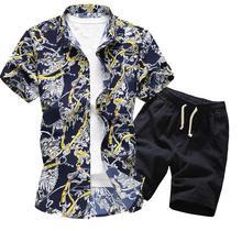 Мужчины Гавайи Праздник Лето Цветочные Блузка Рубашка Топ Костюм Наборы Черные Брюки 2 ШТ. 5 Цветов