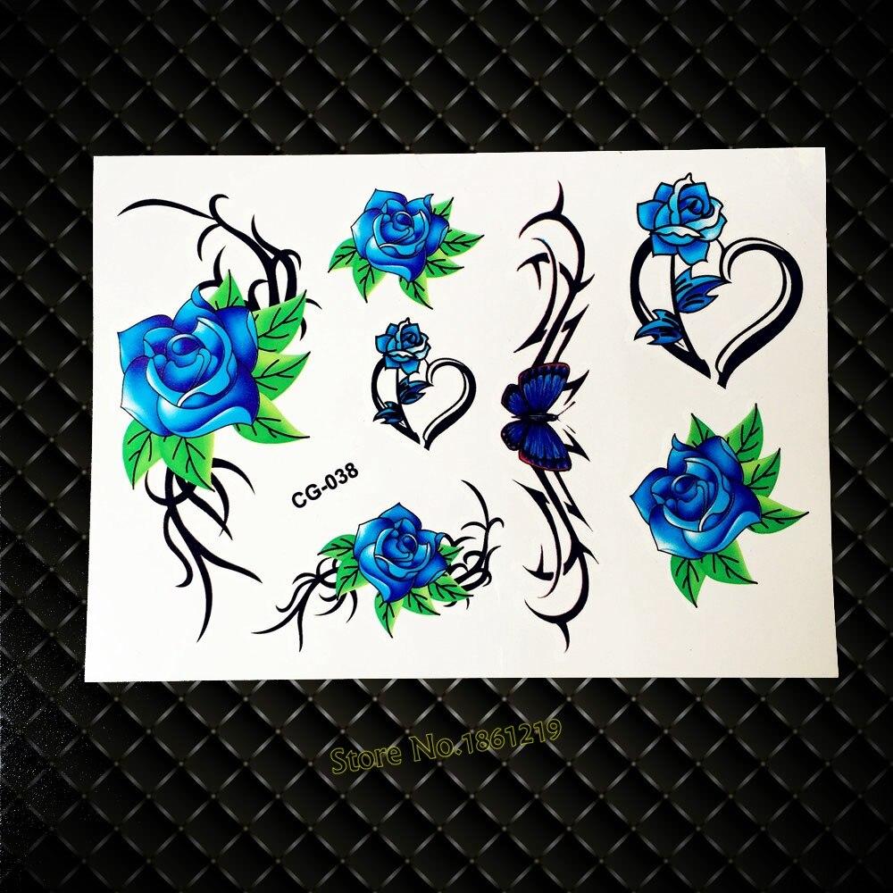 Blue Henna Tattoo: 3D Blue Fashion Flower Temporary Tattoo For Women Makeup