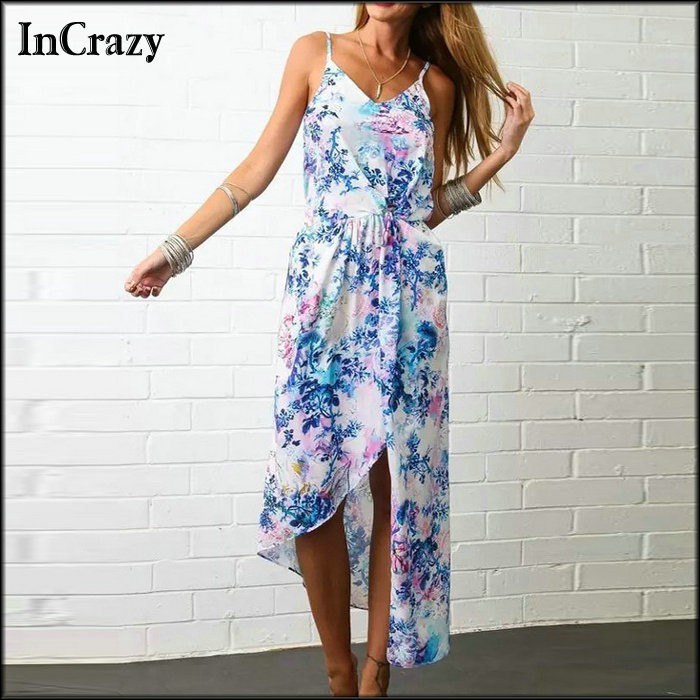 2015 vestidos Summer Dress Fashion Spaghetti Strap Women Dresess Floral Print Bohemian M ...