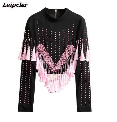 Laipelar femmes noir blanc gland Pull tricoté rayures pulls tricots hiver hauts vêtements tricot pulls Pull Femme