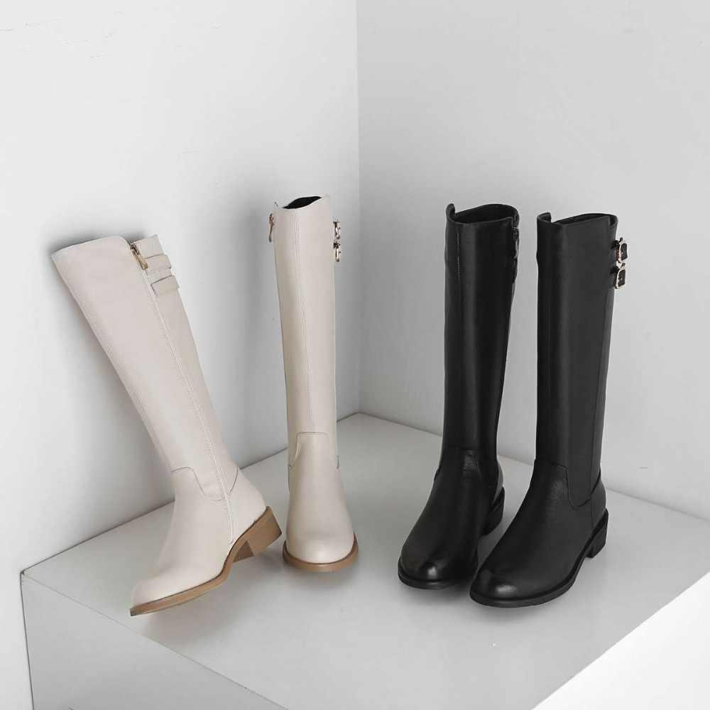 Высокая мода Европейский стиль с ремешком и пряжкой, ремни, модный дизайн, с круглым носком на низком каблуке на молнии из коровьей кожи мужские кожаные ковбойские ботинки; женские сапоги до колена L31