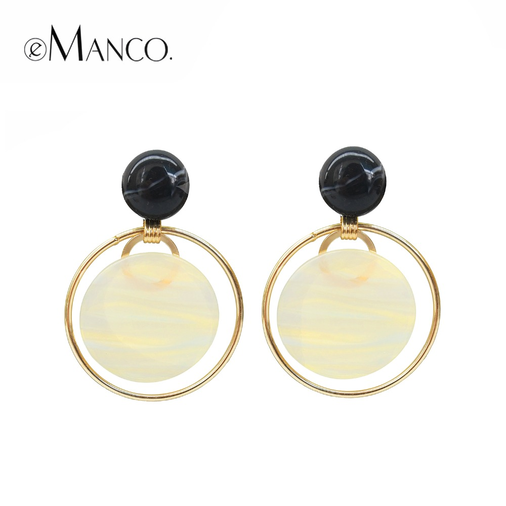 eManco Resin Beads Making Drop Earrings for Women Wedding Party Occasion Round Circle Plank Earrings Brand 2018 Fashion Jewelry