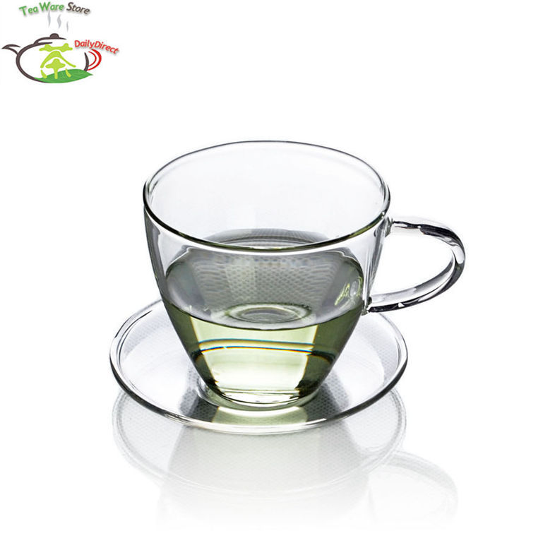 1x 140ml Heat Resistant Clear Mini Kungfu Tea <font><b>Coffee</b></font> <font><b>Cup</b></font> + Saucer New Handmade <font><b>coffee</b></font> <font><b>cup</b></font> made in China image