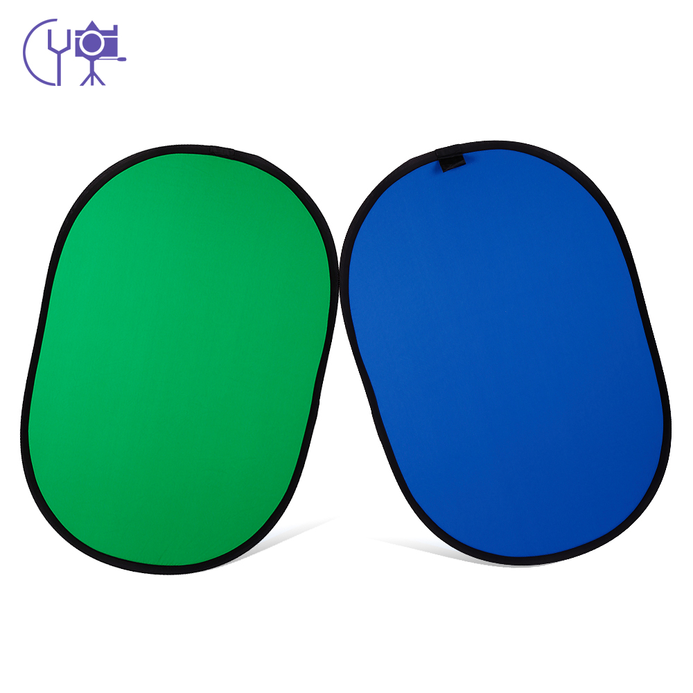 CY 100x150cm Collapsible Cotton Reflector Blue Green 2in1 Backdrop Background Reflector for Photo Video Studio Photography