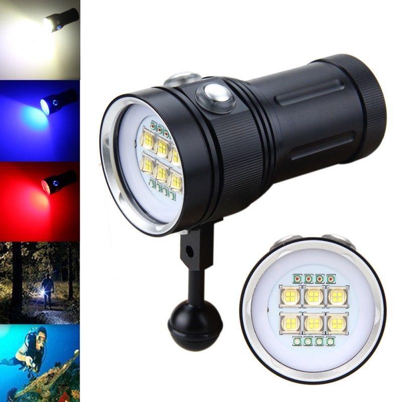 Hot 4x Red Light + 4x UV 395NM LED Torch Underwater Video Diving Flashlight Lamp 6x 9090 LED White Light  torch 1 4 lcd 6 led white light video lamp for camera camcorder 4 x aa