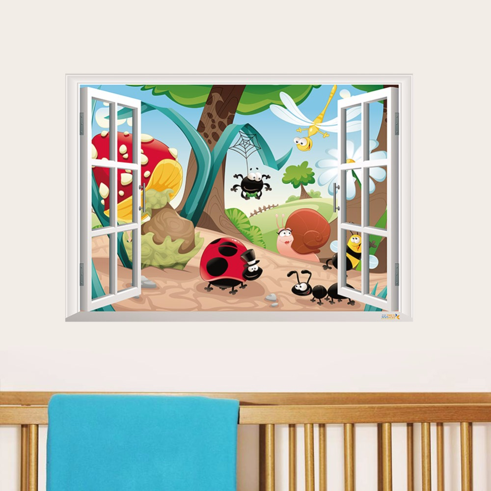 Creative home decor 3d fake window wall stickers cute cartoon creative home decor 3d fake window wall stickers cute cartoon insects pattern for kids baby room 50x70 cm mural art wallpaper in wall stickers from home amipublicfo Choice Image
