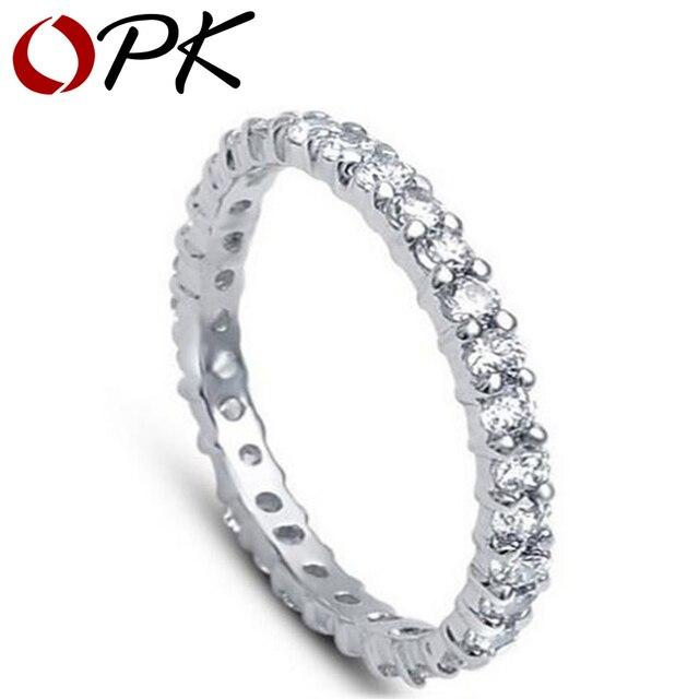 Opk Jewelry Designer Sweet Platinum Plated Wedding Ring Channel Setting Cz Diamond Elegant Vogue