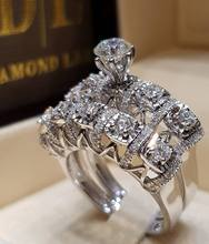 Female  White Austrian Crystal Zircon 925 Silver Wedding Rings for Women Bridal Sets Jewelry Promise Love Engagement