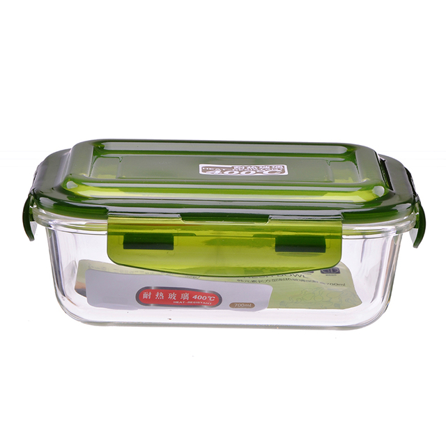 Rectangle Food Containers Borosilicate Gl Lunch Box Microwavable Heat Resistant Fridge Fresh Lock Bowl Tigela