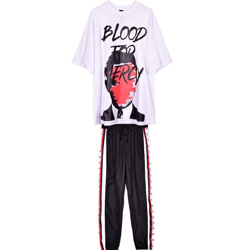 Female Spring Summer Oversize Two Piece Set Women Letter Print Short Sleeve+Elastic Waist Striped Long Pants Fashion Suits JQ876 6