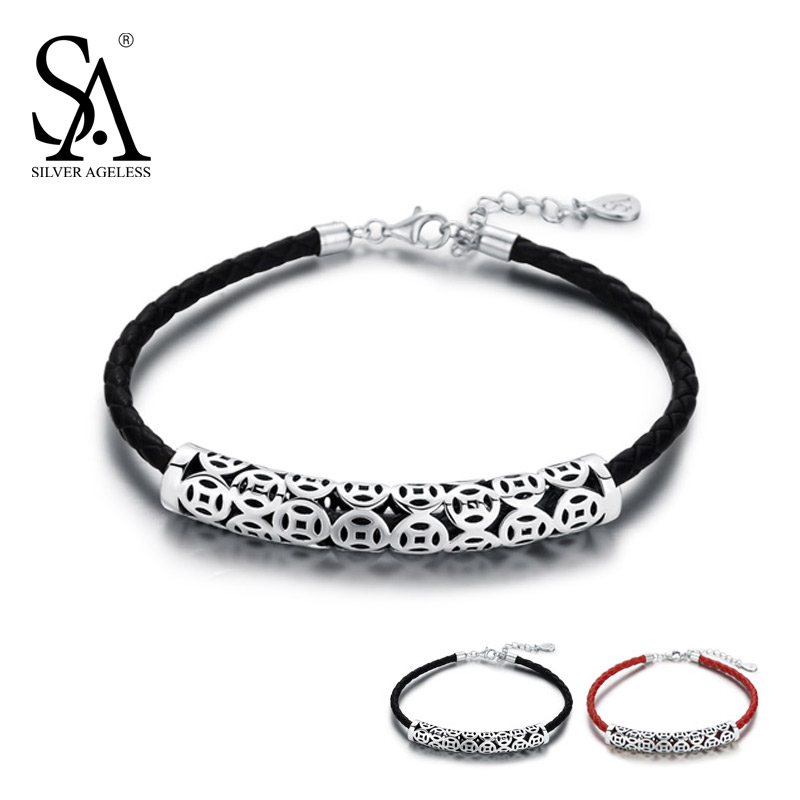 SILVER AGELESS 925 Sterling Silver Black/Red Vintage Wrap Leather Bracelets & Bangles For Women 925 Silver Charm Bracelets New new s925 sterling silver bell red string rope bracelets lucky beads red thread bracelets