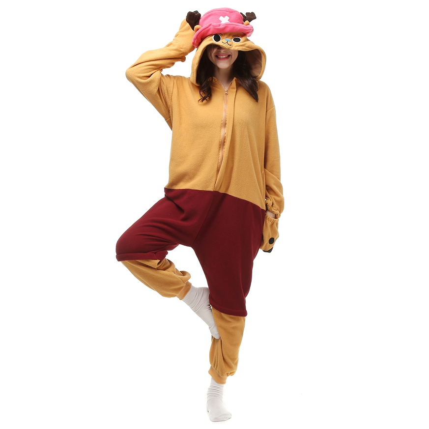 Anime ONE PIECE Costumes Chopper Cosplay Pajamas Winter Onesies Adult Men Women Sleep Tops Party Unisex Halloween Clothes