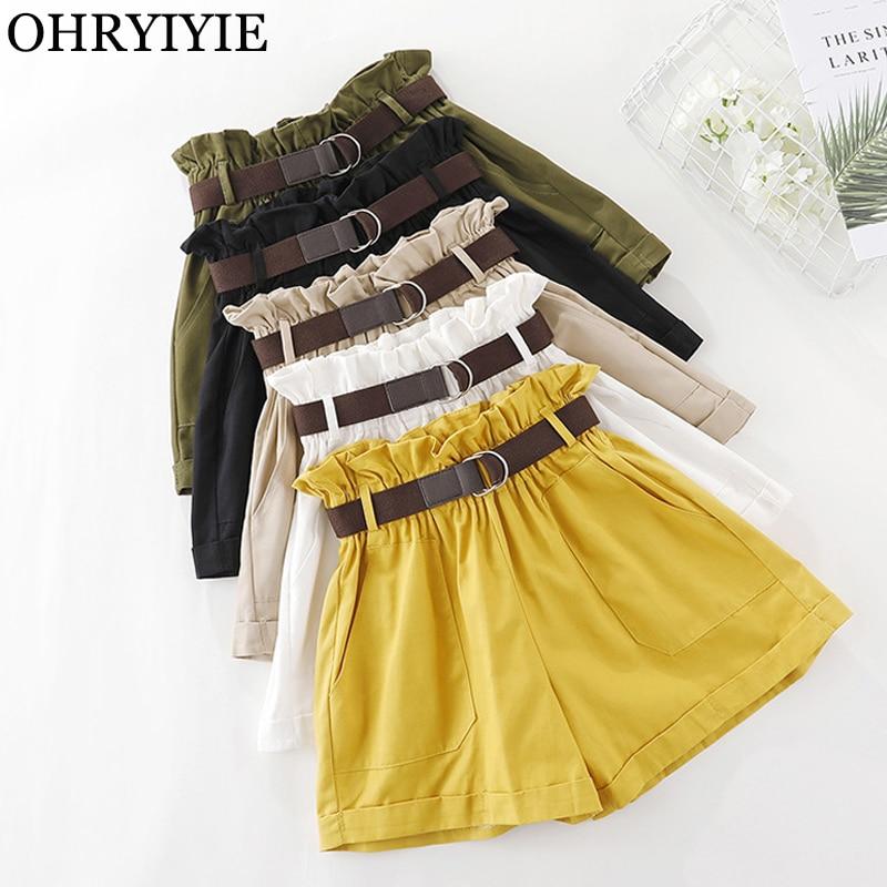 OHRYIYIE 2019 New Spring Summer Fashion Elastic Sashes High Waist Shorts Women Korean Casual Black White Yellow Shorts Female