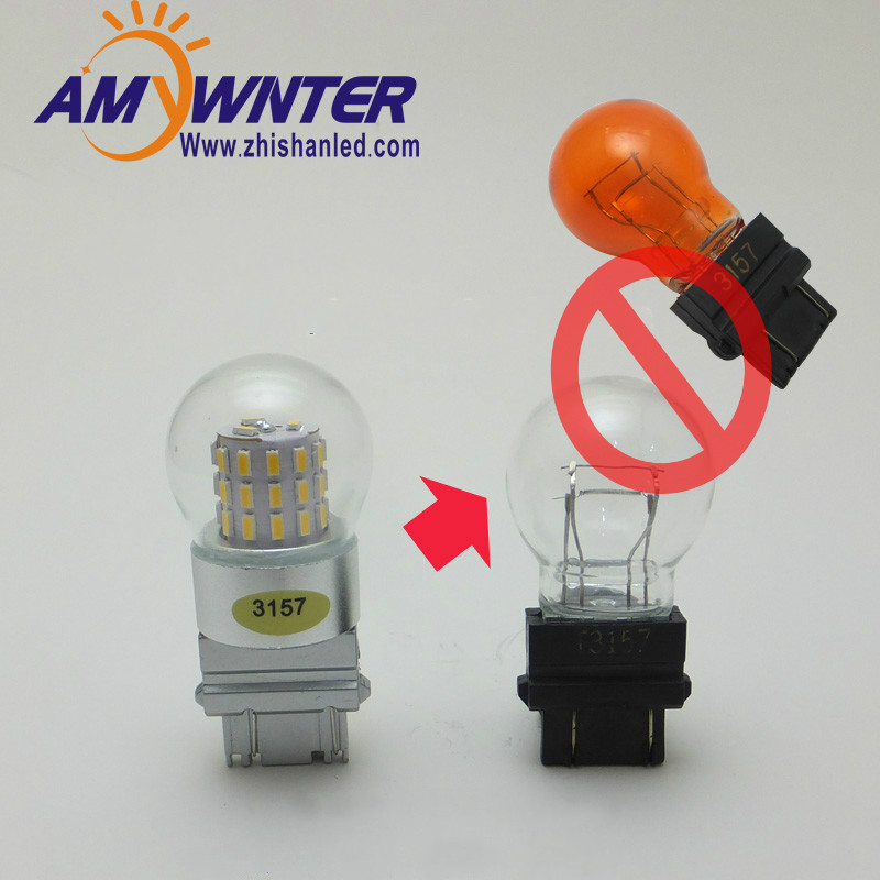 AMYWNTER P27/7W 3157 led car-styling Dual Light Function 3156 LED Amber Yellow White car Brake lights bulbs Red Car Light Source