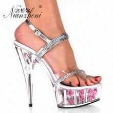 High-heeled crystal wedding shoes for women 15cm walking show shoes Rhinestone Flower thin heel model open-toed silver sandals