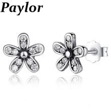 cc0aa2c2b Paylor Hot Fashion Silver Color Dazzling Daisy Stud Earrings With Clear CZ  Zircon Pandora Earrings For Women Engagement Jewelry