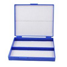 Королевский синий пластик прямоугольник держать 100 микрослайд слайд коробка для микроскопа