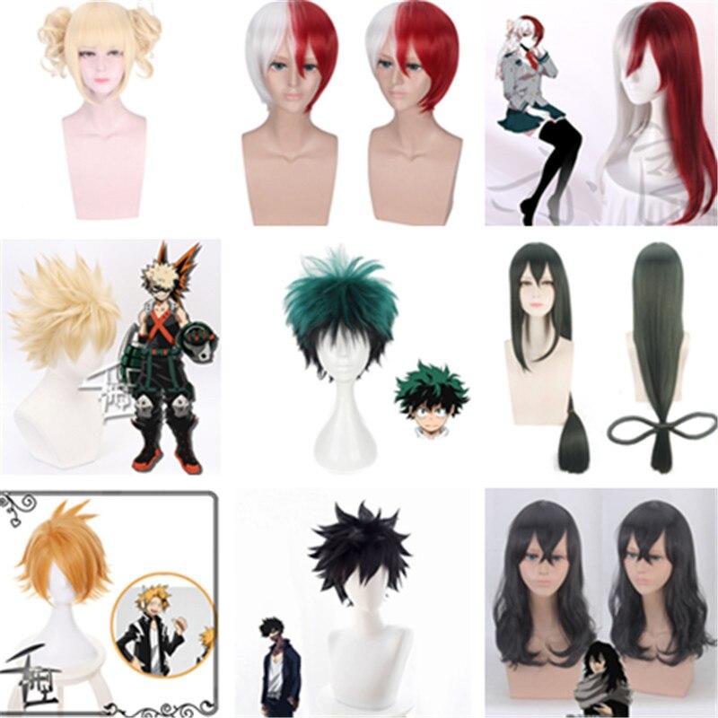 Meu herói academia cosplay perucas baku nenhum herói traje shoto todoroki kaminari denki katsuki bakugo himiko toga jk izuku midoriya