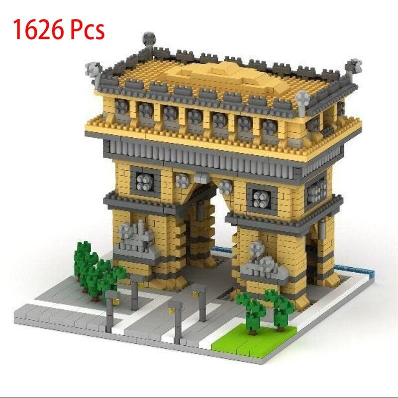 цена на TATCO 1626Pcs Plastic Construction Diamond Blocks Arc De Triomphe Brick Building Toy For Development Eductional Kid Gift