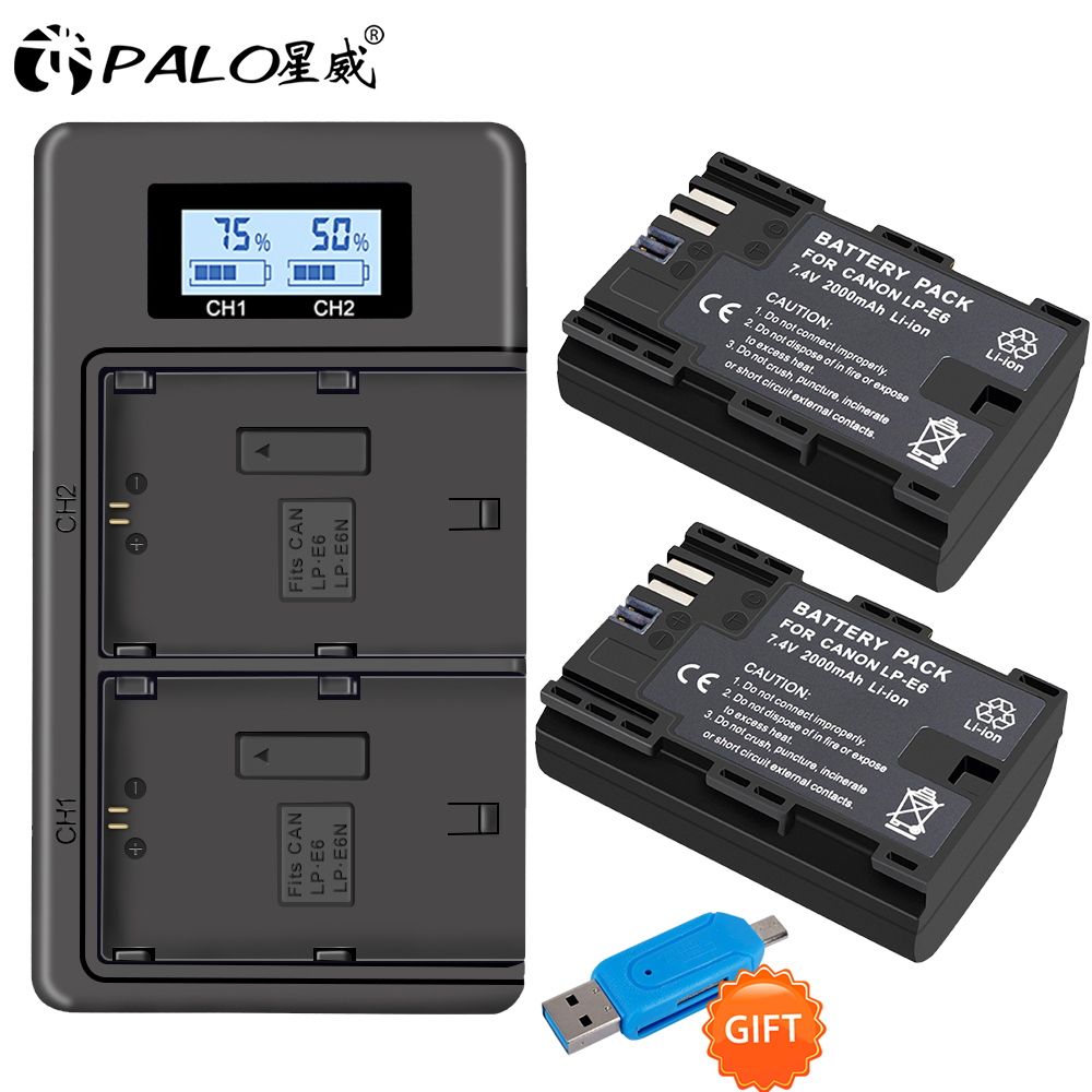 PALO 2pc LP-E6 LP-E6N LP E6 Battery Cell+LCD USB Dual Charger For Canon EOS 6D 7D 5D Mark II III IV 5D 60D 60Da 70D 80D 5DS 5DSR