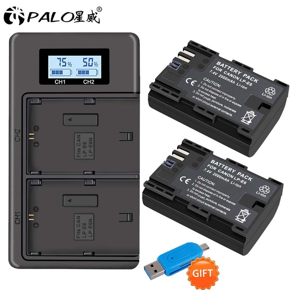 PALO 2pc LP-E6 LP-E6N LP E6 Battery Cell+LCD USB Dual Charger For Canon EOS 6D 7D 5D Mark II III IV 5D 60D 60Da 70D 80D 5DS 5DSR