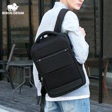 BISON DENIM Модные мужские рюкзаки 15 дюймов рюкзак для ноутбука для подростков дорожные сумки Mochila противокражная школьная сумка N2744